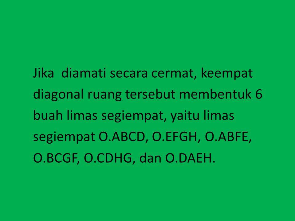 VOLUME LIMAS Jika diamati secara cermat, keempat diagonal ruang tersebut membentuk 6 buah limas segiempat, yaitu limas segiempat O.ABCD, O.EFGH, O.ABF