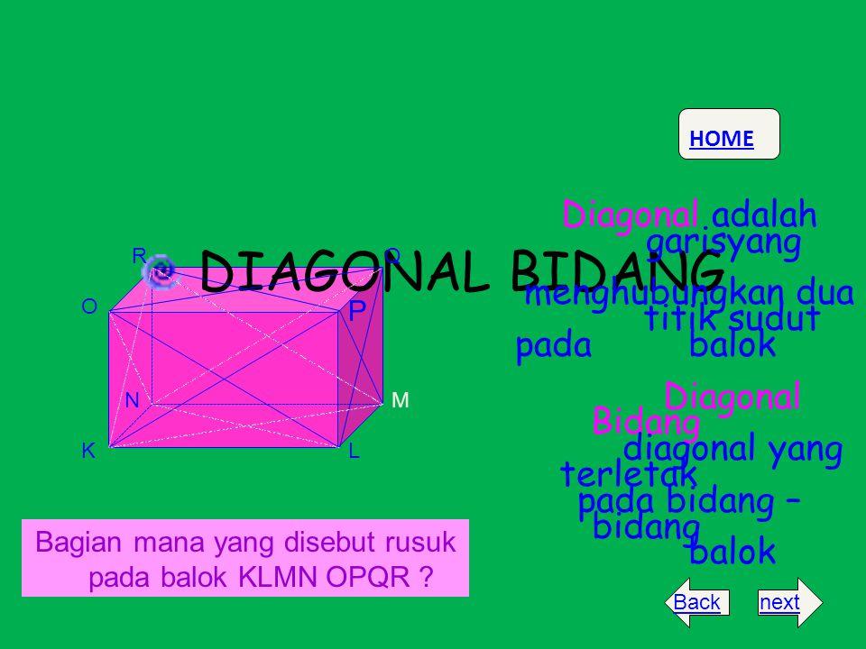 DIAGONAL BIDANG Diagonal adalah garisyang menghubungkan dua titik sudut padabalok Diagonal Bidang diagonal yang terletak pada bidang – bidang balok KL