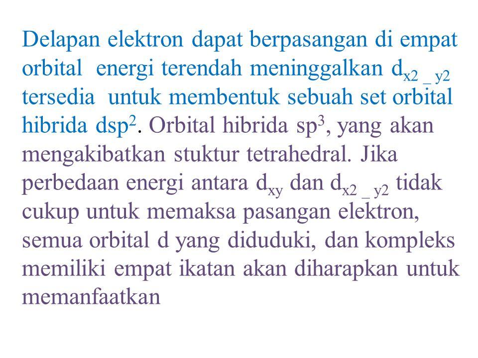 Delapan elektron dapat berpasangan di empat orbital energi terendah meninggalkan d x2 _ y2 tersedia untuk membentuk sebuah set orbital hibrida dsp 2.