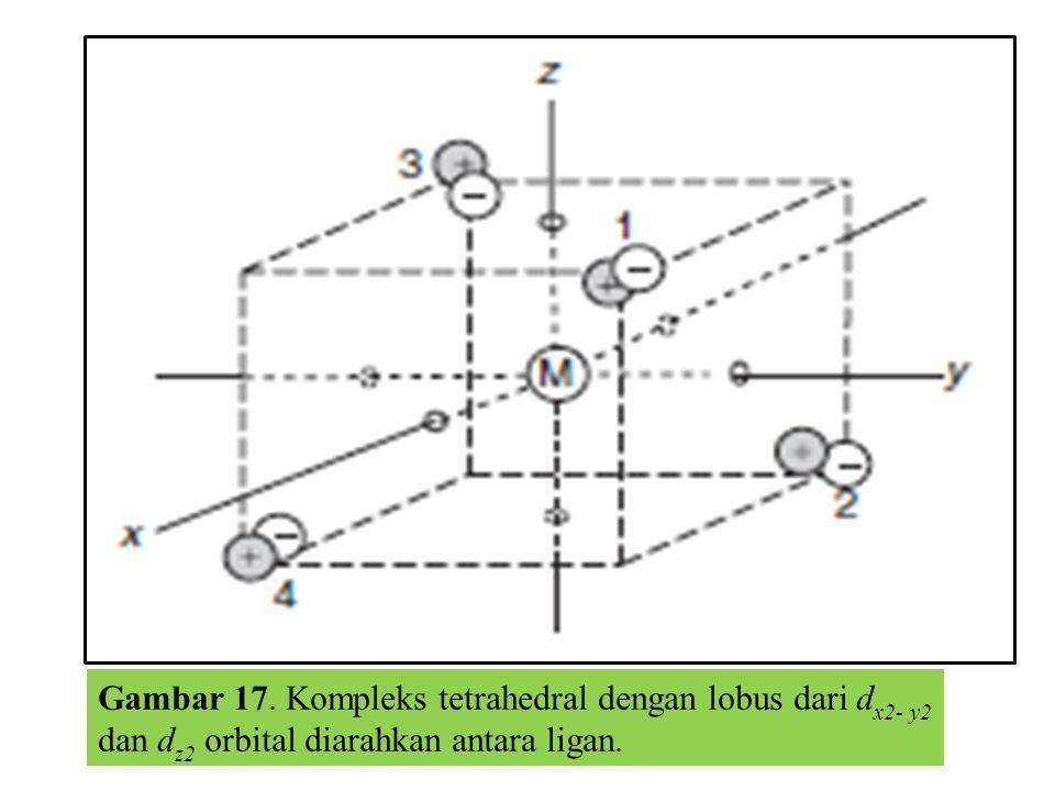 Gambar 17. Kompleks tetrahedral dengan lobus dari d x2- y2 dan d z2 orbital diarahkan antara ligan.