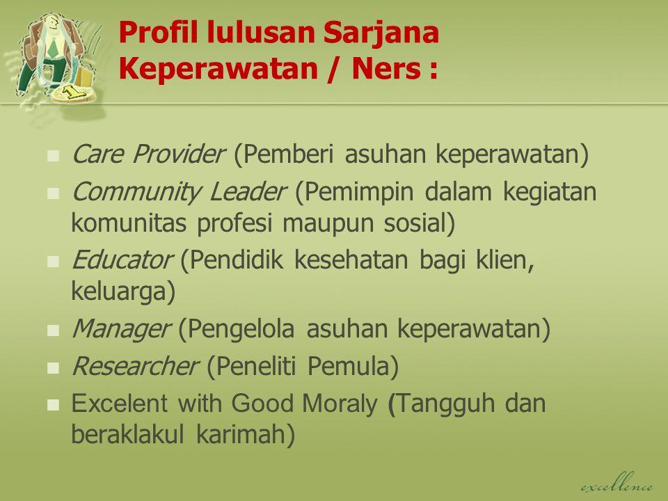 Profil lulusan Sarjana Keperawatan / Ners : Care Provider (Pemberi asuhan keperawatan) Community Leader (Pemimpin dalam kegiatan komunitas profesi mau