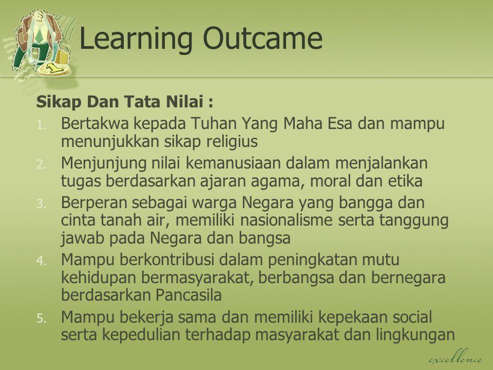 Learning Outcame Sikap Dan Tata Nilai : 1. Bertakwa kepada Tuhan Yang Maha Esa dan mampu menunjukkan sikap religius 2. Menjunjung nilai kemanusiaan da