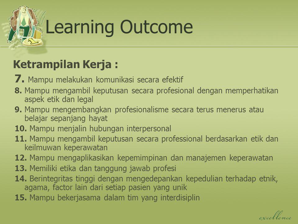 Learning Outcome Ketrampilan Kerja : 7. Mampu melakukan komunikasi secara efektif 8. Mampu mengambil keputusan secara profesional dengan memperhatikan