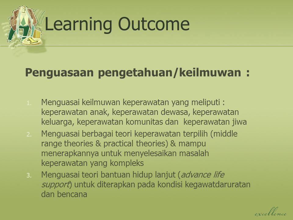 Learning Outcome Penguasaan pengetahuan/keilmuwan : 1. Menguasai keilmuwan keperawatan yang meliputi : keperawatan anak, keperawatan dewasa, keperawat