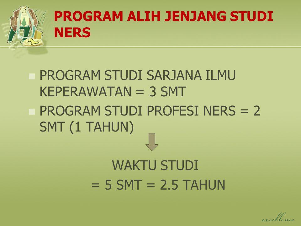 PROGRAM ALIH JENJANG STUDI NERS PROGRAM STUDI SARJANA ILMU KEPERAWATAN = 3 SMT PROGRAM STUDI PROFESI NERS = 2 SMT (1 TAHUN) WAKTU STUDI = 5 SMT = 2.5