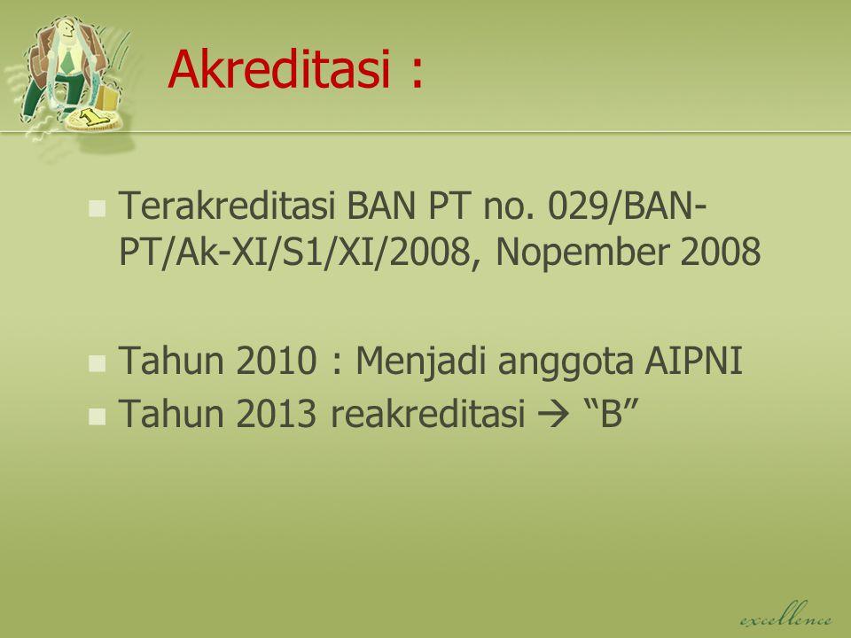 """Terakreditasi BAN PT no. 029/BAN- PT/Ak-XI/S1/XI/2008, Nopember 2008 Tahun 2010 : Menjadi anggota AIPNI Tahun 2013 reakreditasi  """"B"""" Akreditasi :"""