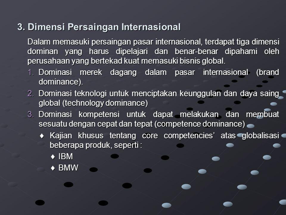 3. Dimensi Persaingan Internasional Dalam memasuki persaingan pasar internasional, terdapat tiga dimensi dominan yang harus dipelajari dan benar-benar