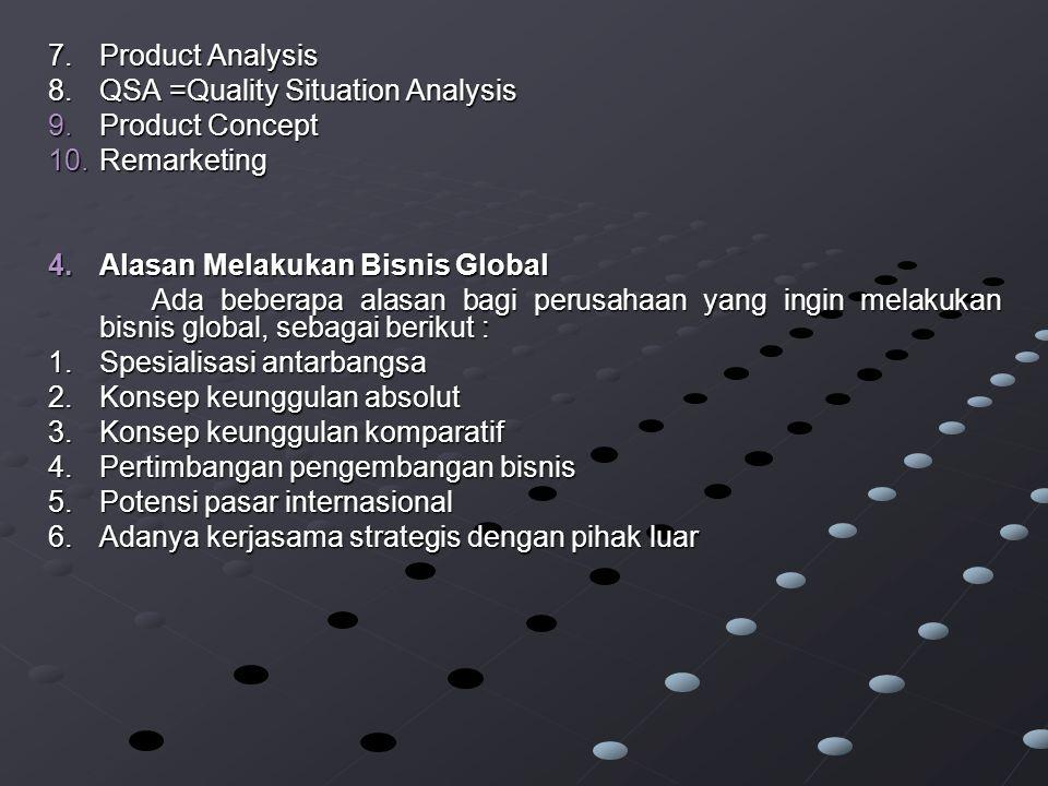 7.Product Analysis 8.QSA =Quality Situation Analysis 9.Product Concept 10.Remarketing 4.Alasan Melakukan Bisnis Global Ada beberapa alasan bagi perusahaan yang ingin melakukan bisnis global, sebagai berikut : 1.