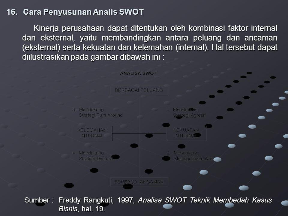 16.Cara Penyusunan Analis SWOT Kinerja perusahaan dapat ditentukan oleh kombinasi faktor internal dan eksternal, yaitu membandingkan antara peluang dan ancaman (eksternal) serta kekuatan dan kelemahan (internal).