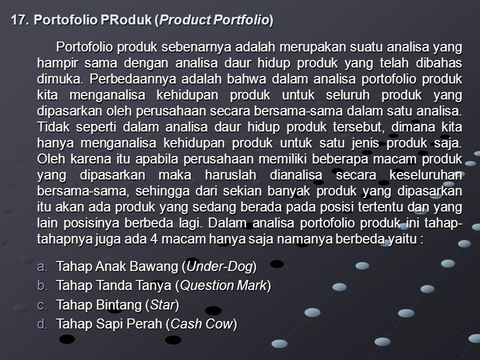 17.Portofolio PRoduk (Product Portfolio) Portofolio produk sebenarnya adalah merupakan suatu analisa yang hampir sama dengan analisa daur hidup produk yang telah dibahas dimuka.