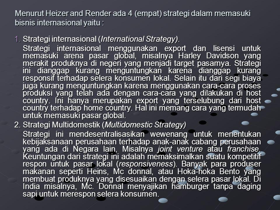 Menurut Heizer and Render ada 4 (empat) strategi dalam memasuki bisnis internasional yaitu : 1.Strategi internasional (International Strategy).