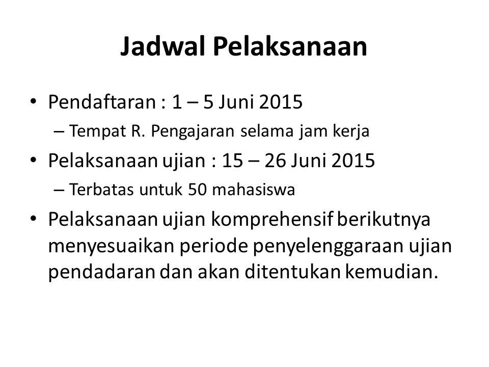 Jadwal Pelaksanaan Pendaftaran : 1 – 5 Juni 2015 – Tempat R.