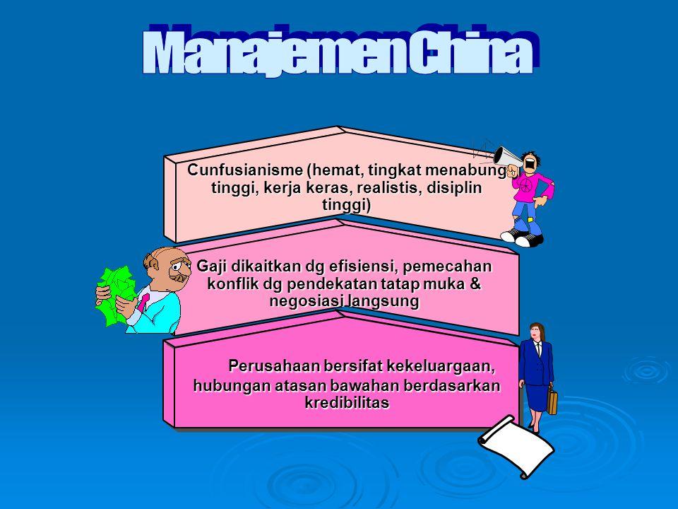 Gaji dikaitkan dg efisiensi, pemecahan konflik dg pendekatan tatap muka & negosiasi langsung Cunfusianisme (hemat, tingkat menabung tinggi, kerja keras, realistis, disiplin tinggi) Perusahaan bersifat kekeluargaan, Perusahaan bersifat kekeluargaan, hubungan atasan bawahan berdasarkan kredibilitas