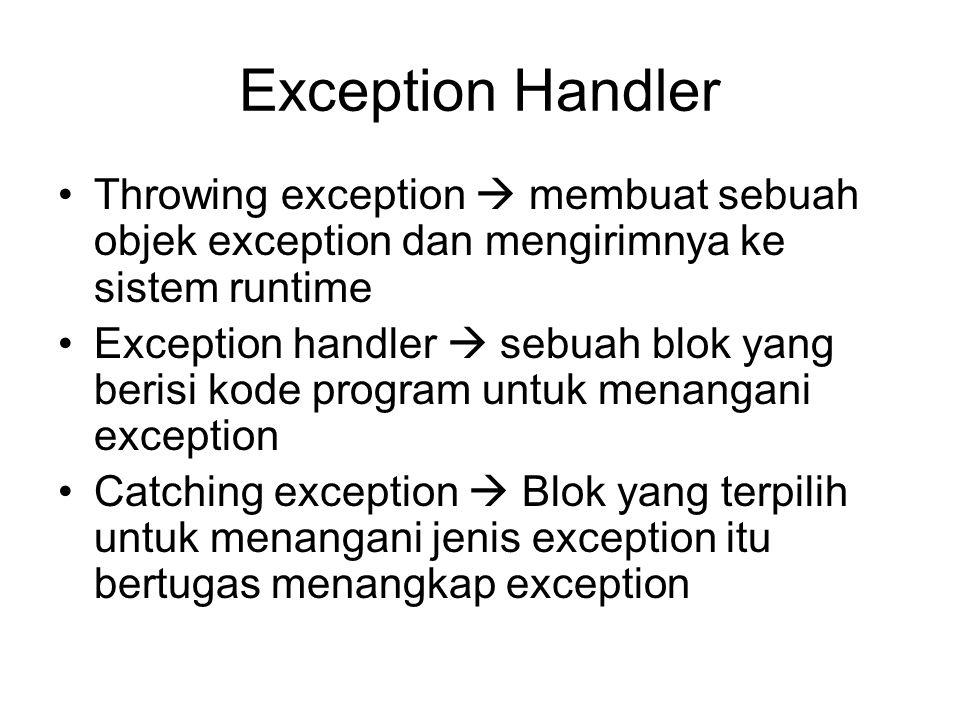 Exception Handler Throwing exception  membuat sebuah objek exception dan mengirimnya ke sistem runtime Exception handler  sebuah blok yang berisi ko
