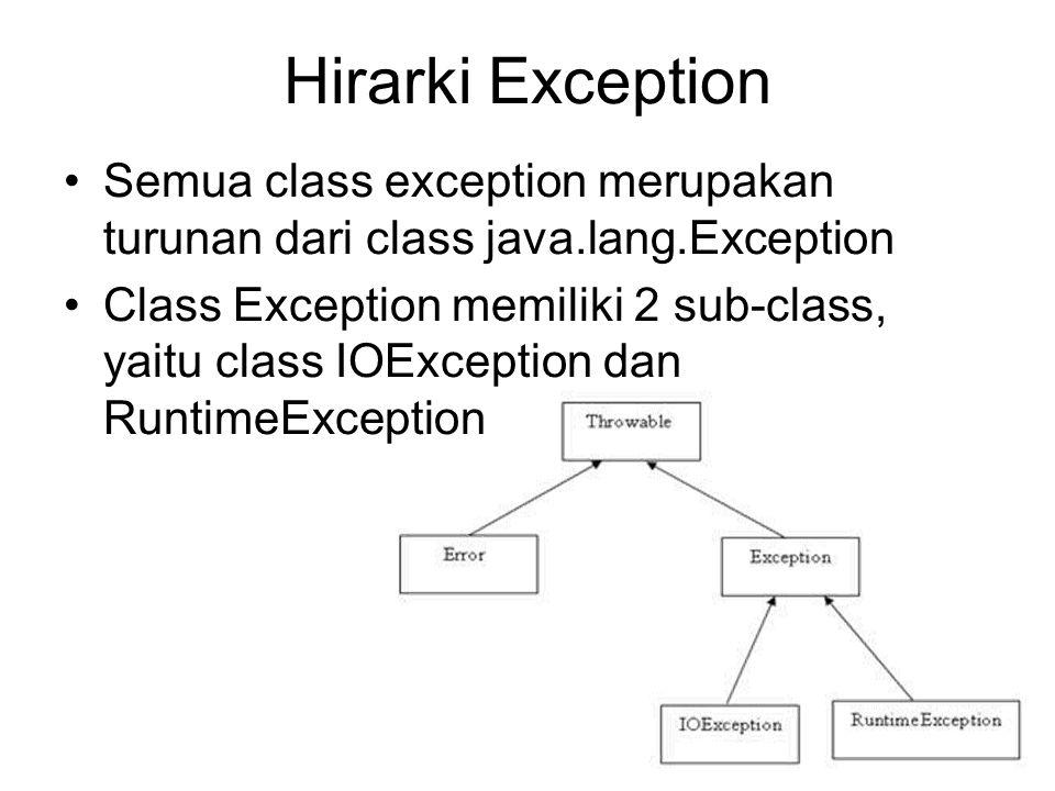 Hirarki Exception Semua class exception merupakan turunan dari class java.lang.Exception Class Exception memiliki 2 sub-class, yaitu class IOException