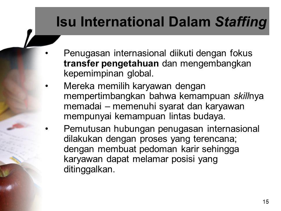 15 Isu International Dalam Staffing Penugasan internasional diikuti dengan fokus transfer pengetahuan dan mengembangkan kepemimpinan global. Mereka me