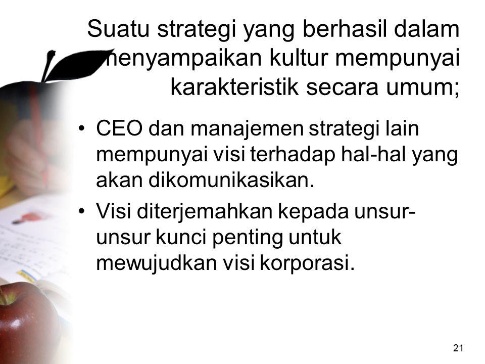 21 Suatu strategi yang berhasil dalam menyampaikan kultur mempunyai karakteristik secara umum; CEO dan manajemen strategi lain mempunyai visi terhadap