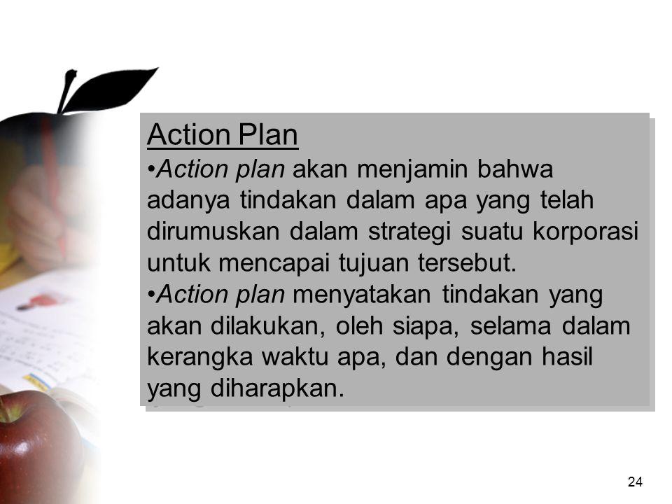 24 Action Plan Action plan akan menjamin bahwa adanya tindakan dalam apa yang telah dirumuskan dalam strategi suatu korporasi untuk mencapai tujuan te