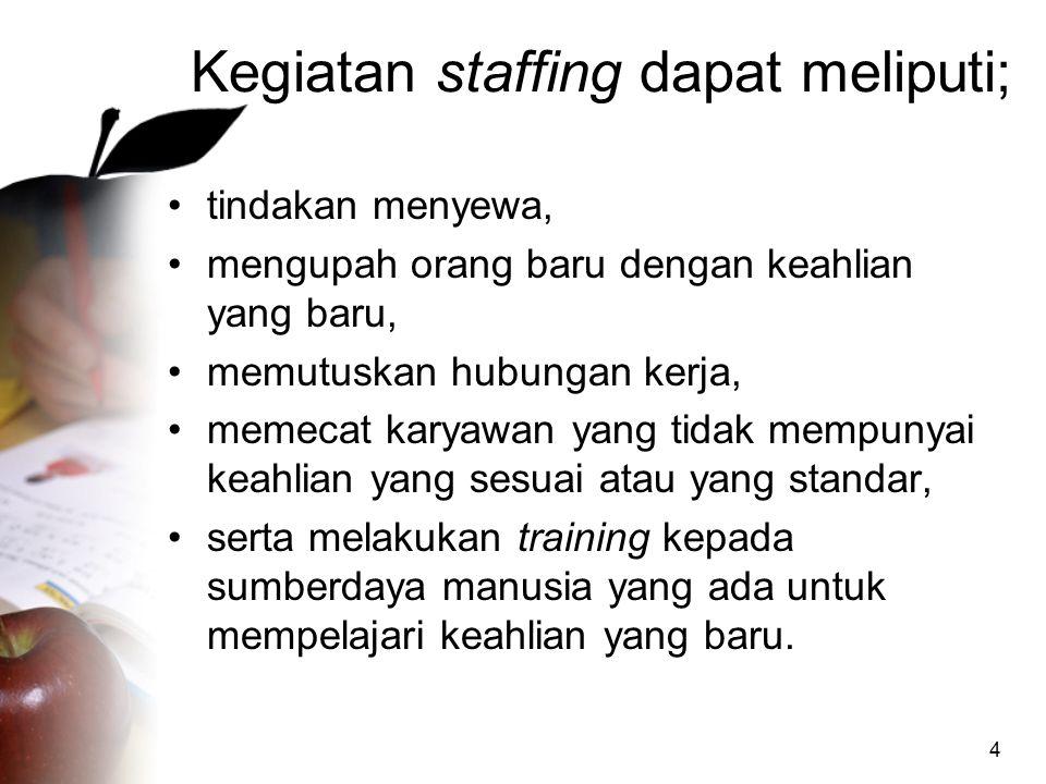 4 Kegiatan staffing dapat meliputi; tindakan menyewa, mengupah orang baru dengan keahlian yang baru, memutuskan hubungan kerja, memecat karyawan yang