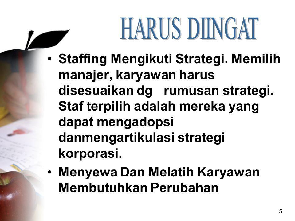5 Staffing Mengikuti Strategi. Memilih manajer, karyawan harus disesuaikan dg rumusan strategi. Staf terpilih adalah mereka yang dapat mengadopsi danm
