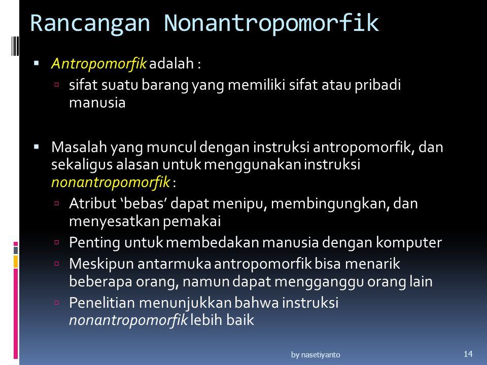 Rancangan Nonantropomorfik  Antropomorfik adalah :  sifat suatu barang yang memiliki sifat atau pribadi manusia  Masalah yang muncul dengan instruk