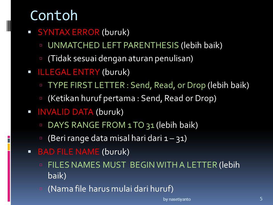 Contoh  SYNTAX ERROR (buruk)  UNMATCHED LEFT PARENTHESIS (lebih baik)  (Tidak sesuai dengan aturan penulisan)  ILLEGAL ENTRY (buruk)  TYPE FIRST