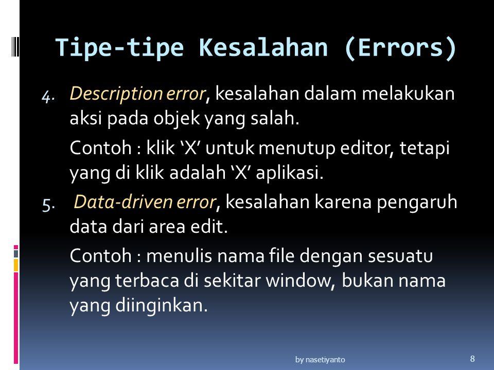 Tipe-tipe Kesalahan (Errors) 4.