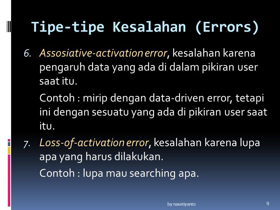 Tipe-tipe Kesalahan (Errors) 6. Assosiative-activation error, kesalahan karena pengaruh data yang ada di dalam pikiran user saat itu. Contoh : mirip d