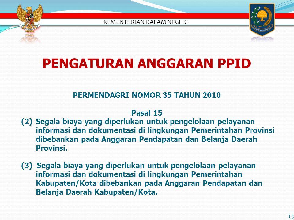PENGATURAN ANGGARAN PPID PERMENDAGRI NOMOR 35 TAHUN 2010 Pasal 15 (2)Segala biaya yang diperlukan untuk pengelolaan pelayanan informasi dan dokumentasi di lingkungan Pemerintahan Provinsi dibebankan pada Anggaran Pendapatan dan Belanja Daerah Provinsi.