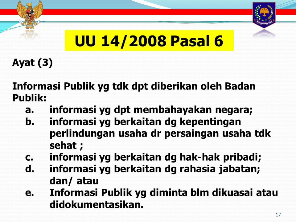 17 Ayat (3) Informasi Publik yg tdk dpt diberikan oleh Badan Publik: a.
