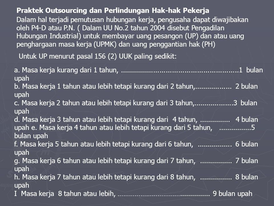Praktek Outsourcing dan Perlindungan Hak-hak Pekerja Dalam hal terjadi pemutusan hubungan kerja, pengusaha dapat diwajibakan oleh P4-D atau P.N.