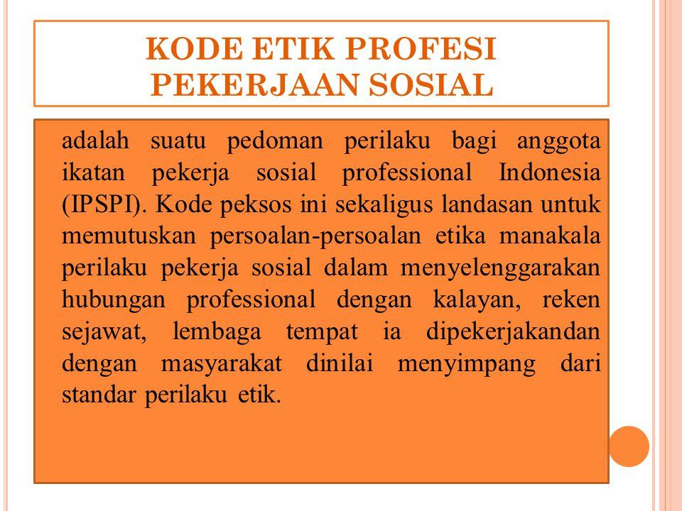 KODE ETIK PROFESI PEKERJAAN SOSIAL adalah suatu pedoman perilaku bagi anggota ikatan pekerja sosial professional Indonesia (IPSPI). Kode peksos ini se