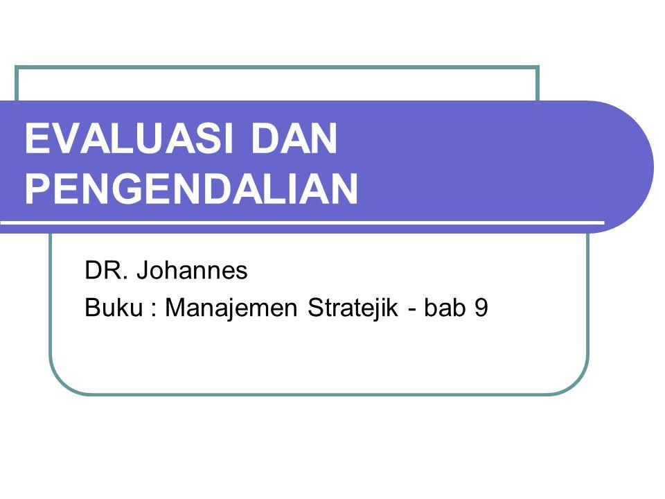 EVALUASI DAN PENGENDALIAN DR. Johannes Buku : Manajemen Stratejik - bab 9