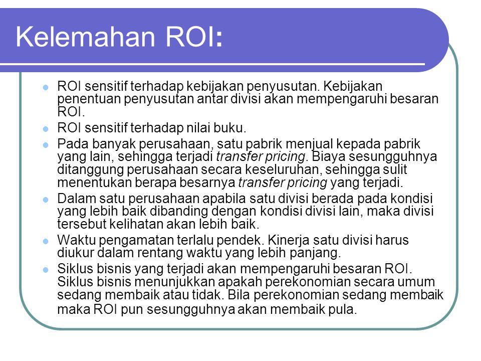 Kelemahan ROI: ROI sensitif terhadap kebijakan penyusutan. Kebijakan penentuan penyusutan antar divisi akan mempengaruhi besaran ROI. ROI sensitif ter