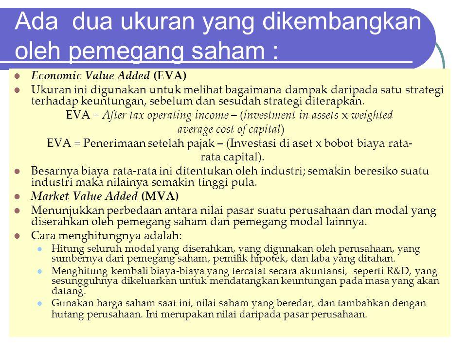 Ada dua ukuran yang dikembangkan oleh pemegang saham : Economic Value Added (EVA) Ukuran ini digunakan untuk melihat bagaimana dampak daripada satu st