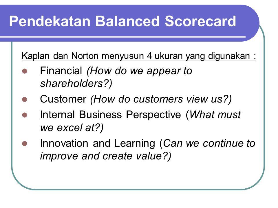 Pendekatan Balanced Scorecard Kaplan dan Norton menyusun 4 ukuran yang digunakan : Financial (How do we appear to shareholders?) Customer (How do cust