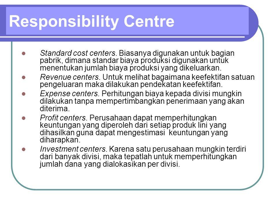 Standard cost centers. Biasanya digunakan untuk bagian pabrik, dimana standar biaya produksi digunakan untuk menentukan jumlah biaya produksi yang dik