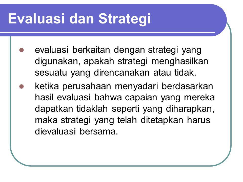 Evaluasi dan Strategi evaluasi berkaitan dengan strategi yang digunakan, apakah strategi menghasilkan sesuatu yang direncanakan atau tidak. ketika per