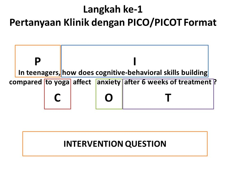 Langkah ke-1 Pertanyaan Klinik dengan PICO/PICOT Format In teenagers, how does cognitive-behavioral skills building compared to yoga affect anxiety af