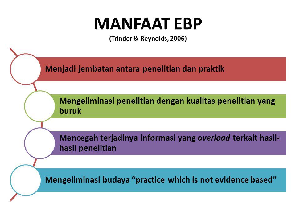 MANFAAT EBP (Trinder & Reynolds, 2006) Menjadi jembatan antara penelitian dan praktik Mengeliminasi penelitian dengan kualitas penelitian yang buruk M