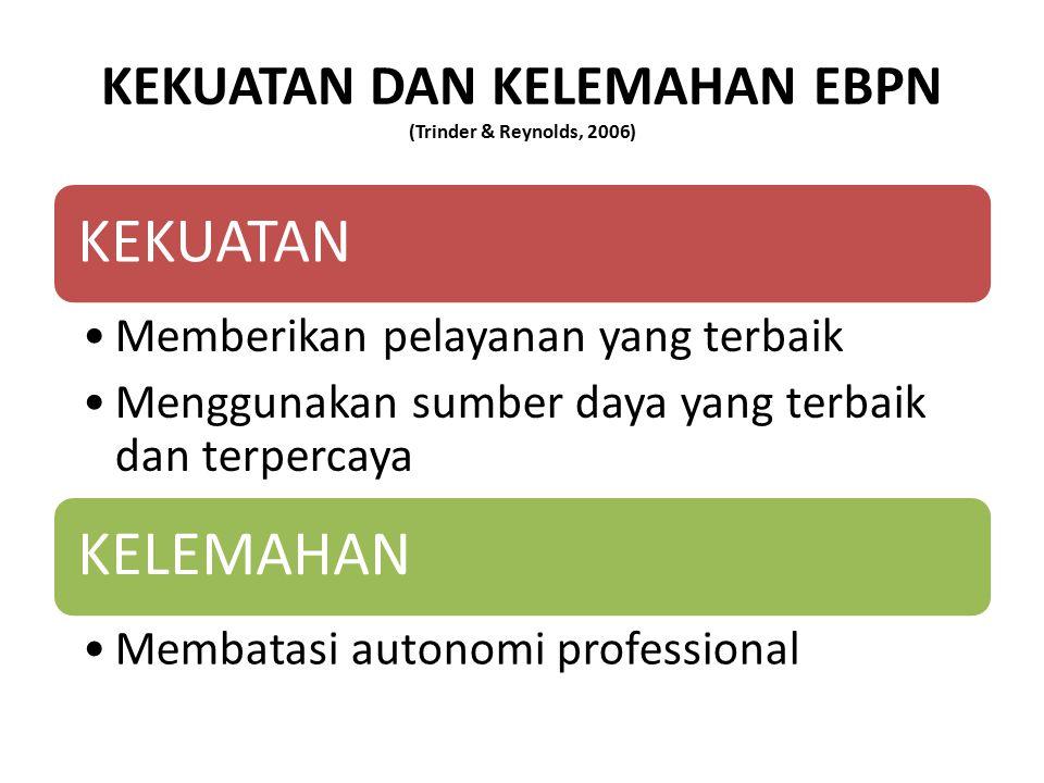 KEKUATAN DAN KELEMAHAN EBPN (Trinder & Reynolds, 2006) KEKUATAN Memberikan pelayanan yang terbaik Menggunakan sumber daya yang terbaik dan terpercaya