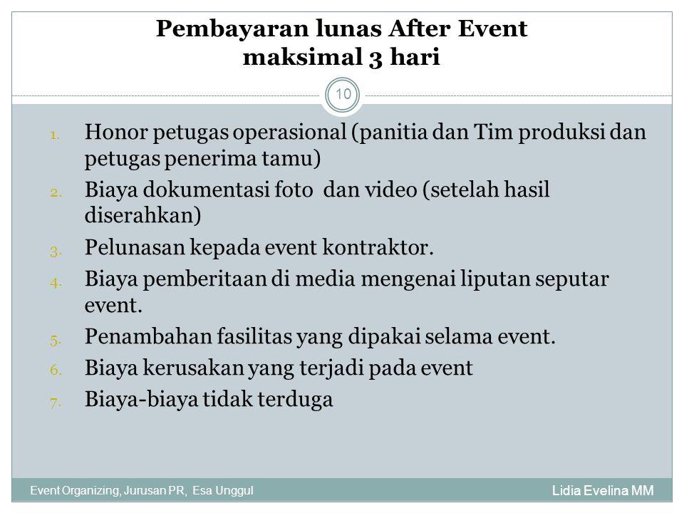 Pembayaran lunas After Event maksimal 3 hari Lidia Evelina MM Event Organizing, Jurusan PR, Esa Unggul 10 1. Honor petugas operasional (panitia dan Ti