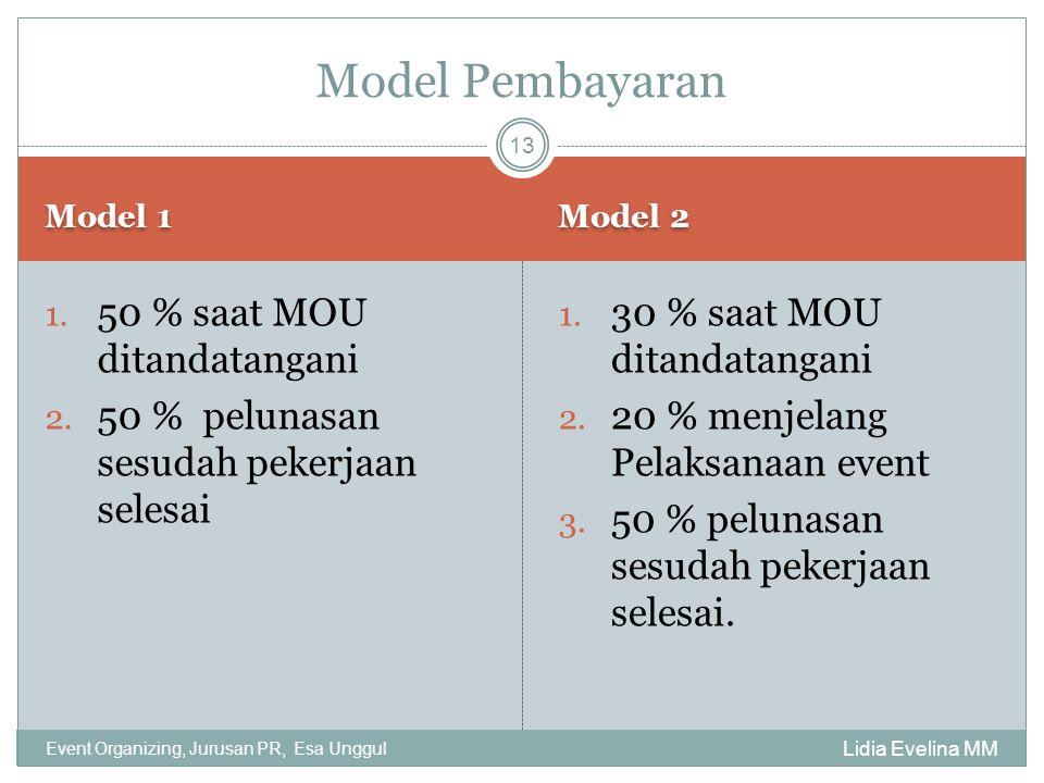 Model 1 Model 2 Lidia Evelina MM Event Organizing, Jurusan PR, Esa Unggul 1. 50 % saat MOU ditandatangani 2. 50 % pelunasan sesudah pekerjaan selesai