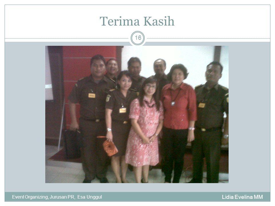 Terima Kasih Lidia Evelina MM Event Organizing, Jurusan PR, Esa Unggul 16