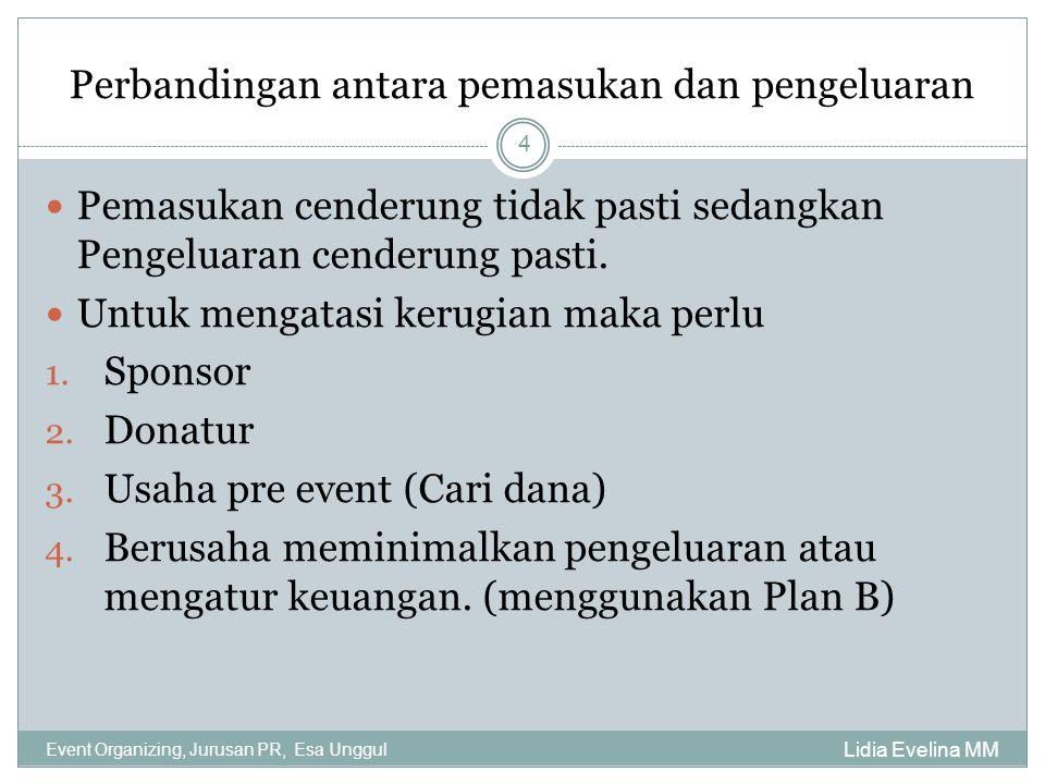 Perbandingan antara pemasukan dan pengeluaran Lidia Evelina MM Event Organizing, Jurusan PR, Esa Unggul 4 Pemasukan cenderung tidak pasti sedangkan Pe