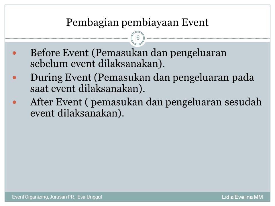 Pembagian pembiayaan Event Lidia Evelina MM Event Organizing, Jurusan PR, Esa Unggul 6 Before Event (Pemasukan dan pengeluaran sebelum event dilaksana