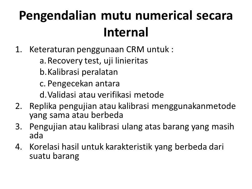 Pengendalian mutu numerical secara Internal 1.Keteraturan penggunaan CRM untuk : a.Recovery test, uji linieritas b.Kalibrasi peralatan c.Pengecekan an