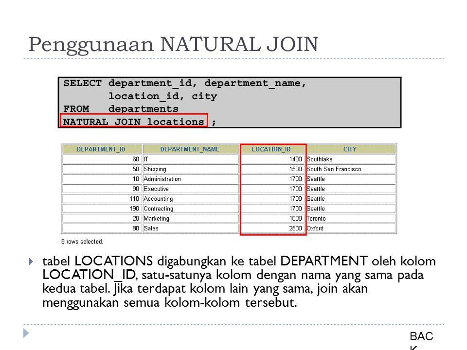  tabel LOCATIONS digabungkan ke tabel DEPARTMENT oleh kolom LOCATION_ID, satu-satunya kolom dengan nama yang sama pada kedua tabel. Jika terdapat kol