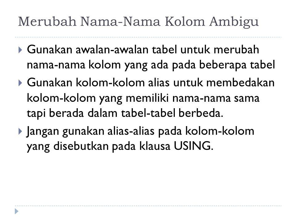 Merubah Nama-Nama Kolom Ambigu  Gunakan awalan-awalan tabel untuk merubah nama-nama kolom yang ada pada beberapa tabel  Gunakan kolom-kolom alias un