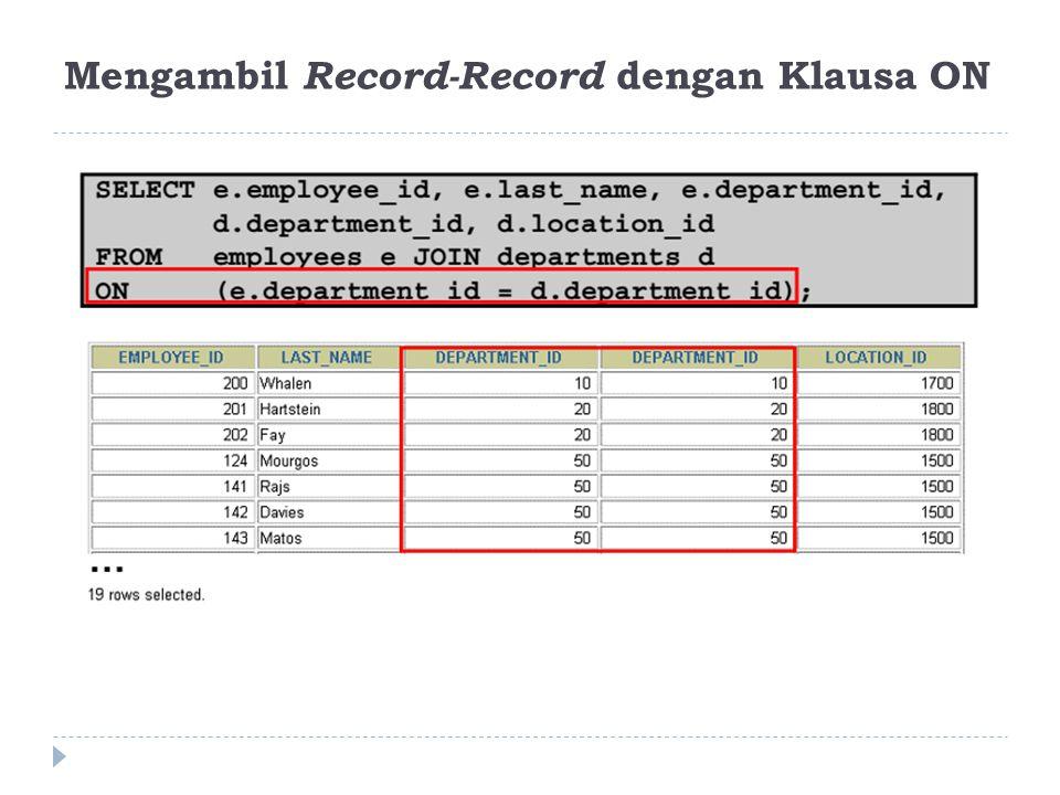 Mengambil Record-Record dengan Klausa ON